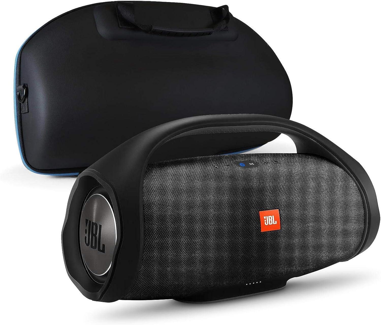 JBL Boombox Portable Bluetooth Waterproof Speaker Bundle with divvi! Molded Hardshell Speaker Case - Black