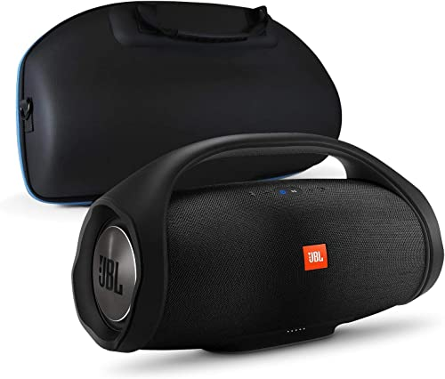 JBL Boombox Portable Bluetooth Waterproof Speaker Bundle with divvi Molded Hardshell Speaker Case - Black