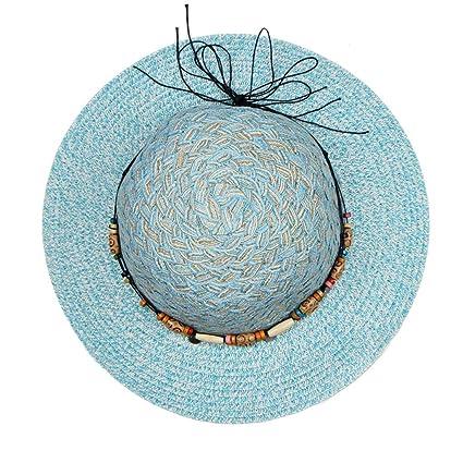 c7c912fe Amazon.com: Cap,Longay Summer Women Large Brimmed Flat Wide Brim Beach  Floppy Bead Paper Straw Hat (Sky Blue): Arts, Crafts & Sewing