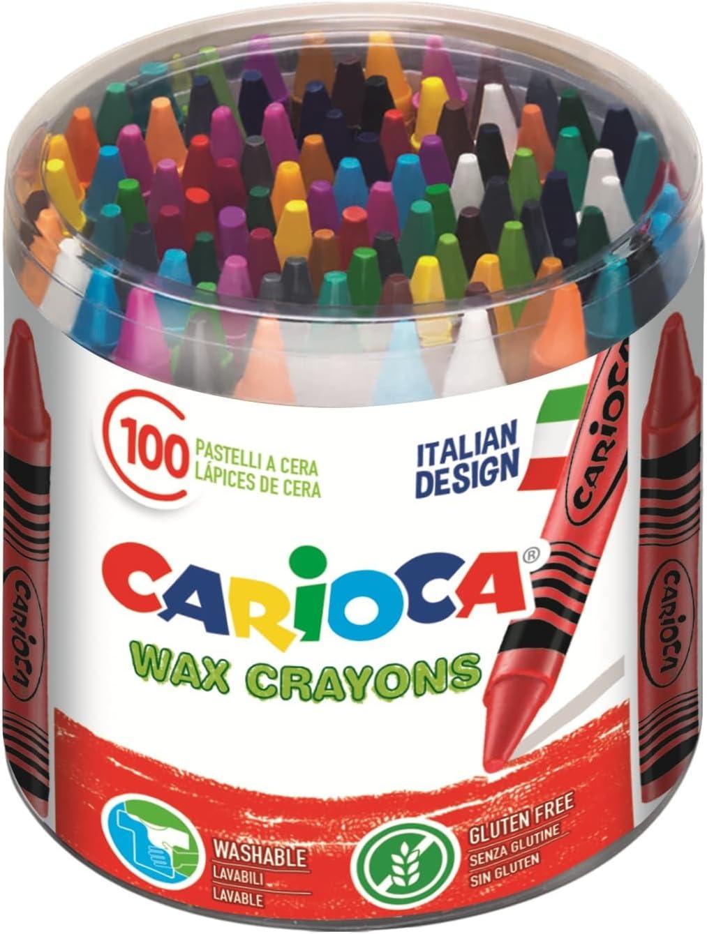 CARIOCA WAX   42399 - Caja de Ceras, Colores Surtidos 100 Unidades: Amazon.es: Juguetes y juegos