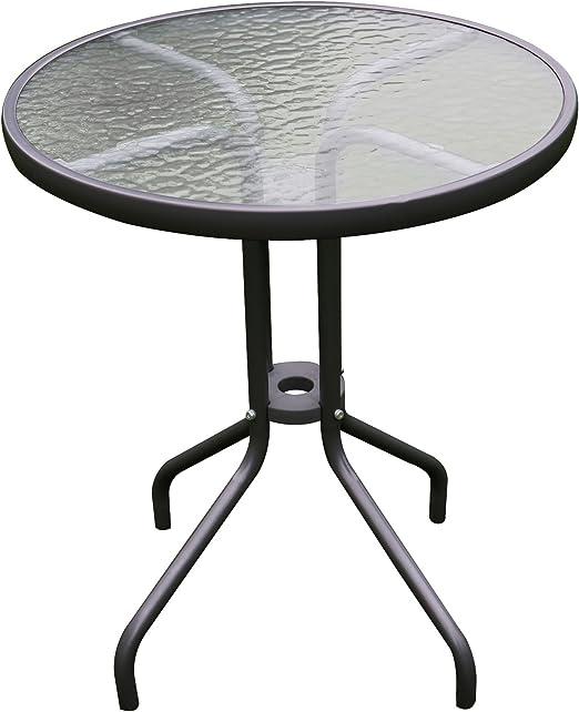 Mojawo® Bistro Mesa Redonda de Cristal/Metal Diámetro 60 h70 cm ...