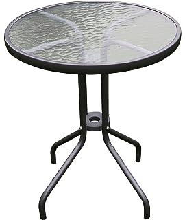 Mojawo Garden Glass Bistro Table Glass//Metal Round Diameter 60 cm Height 70 cm Anthracite//Dark Grey