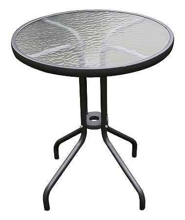 Mojawo Bistrotisch Glas/Metall Rund Ø 60 H70cm Antrhrazit/Dunkelgrau  Balkontisch Gartentisch Glastisch