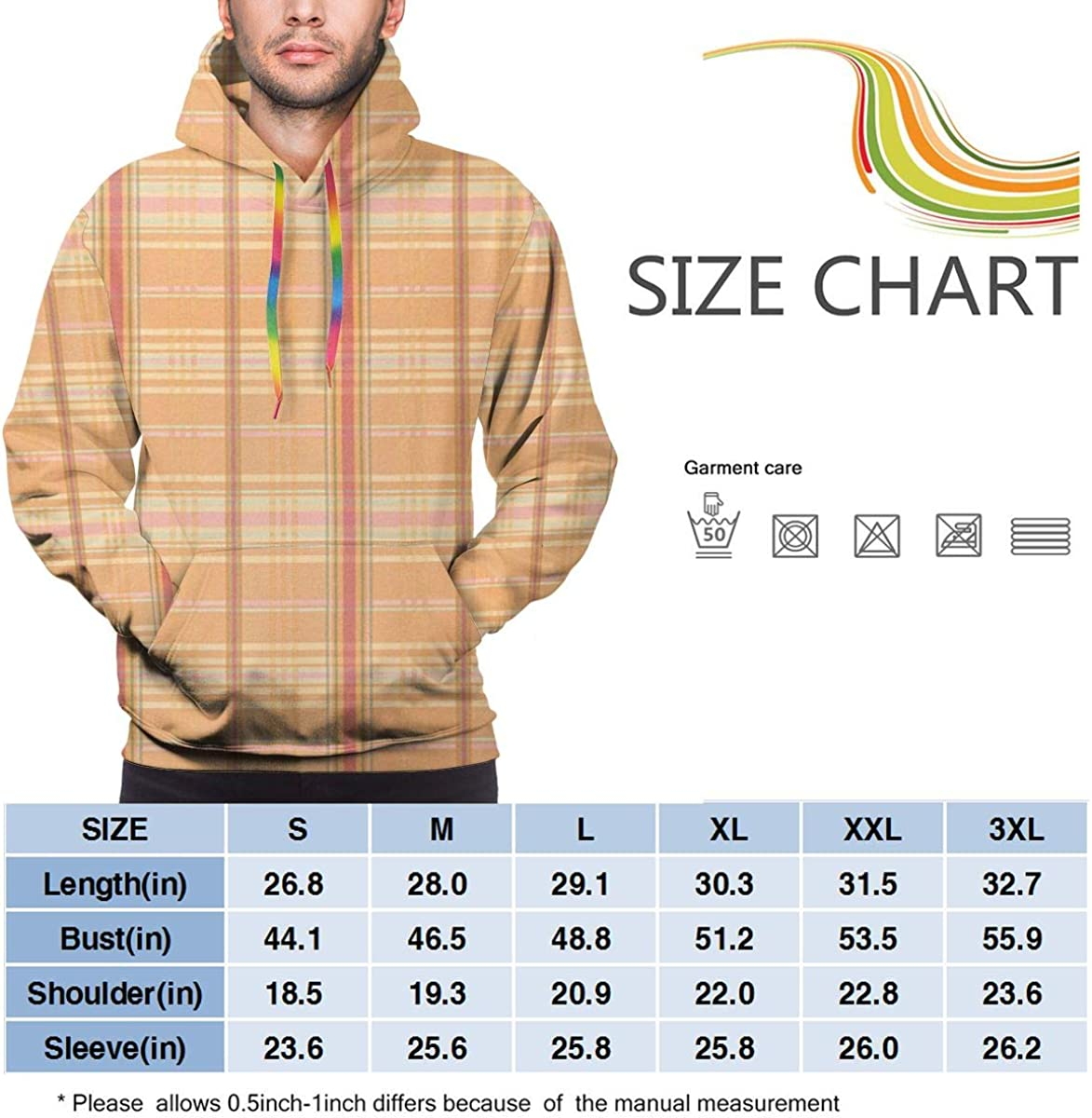Funny Cool Outwear Line Grid Pullover Hooded Sweatshirts for Boys Mens