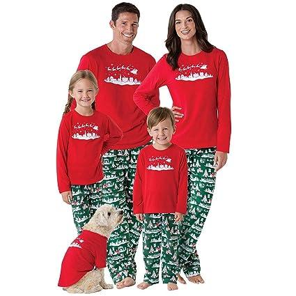 unpara christmas matching family pajamas long sleeves deer print top pants sleepwear outfits red