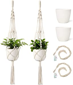 Mkono Macrame Plant Hangers with Pots 6.5 Inch Plastic Planter Included Indoor Hanging Planters Basket Holder ( 2 Plant Hangers and 2 Flower Pots ) 41-Inch