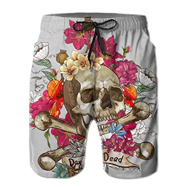 c7e37b6208 Amazon.com  Men s Day Of The Dead Skull Bone With Flowers Swim ...