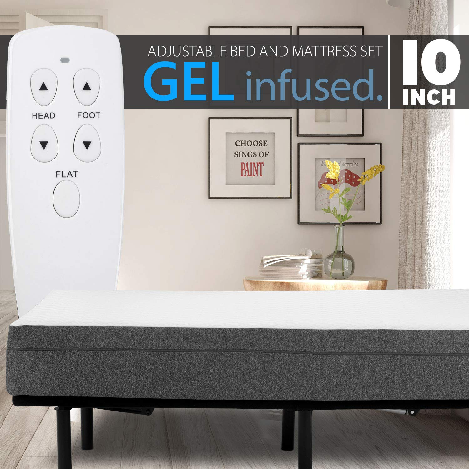 10'' Gel Infused Medium Firm Memory Foam Mattress with Adjustable Bed Frame Combo Set Head and Foot Incline Wired Remote (King)