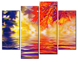 BLIN ART 4 Panel Fantasy Wonderland of Bright Red Maple Leaf Reflection on the Water In Autumn Landscape Pictures Prints On Canvas Nature Plant Trees Pictures For Living Room Ready to Hang