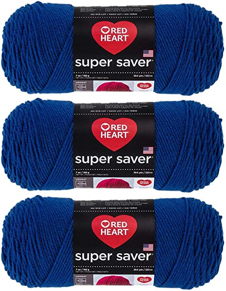 Black 3 Pack RED HEART E300PK.0312 Super Saver 3-Pack Yarn