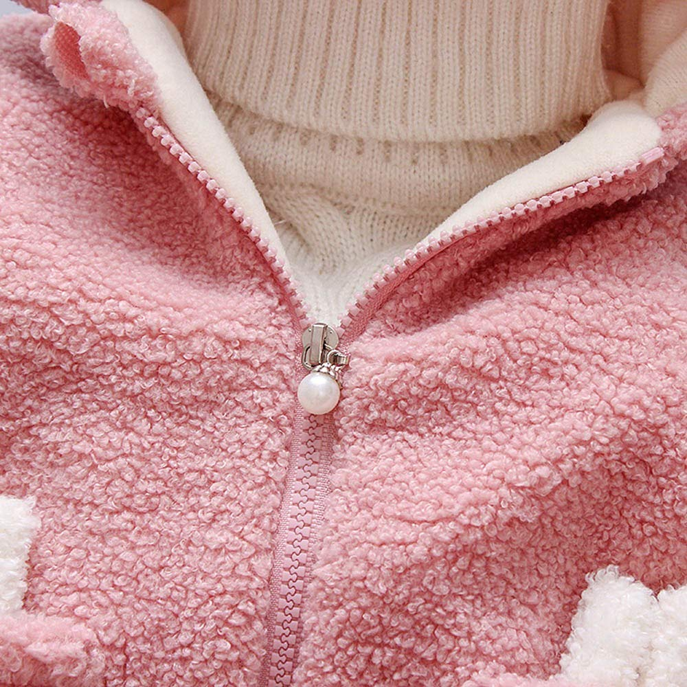 WARMSHOP Infant Baby Boys Girls Fall Winter Warm Coat Jacket Outwear Solid Cartoon Rabbit Faux Fur Hoodies Jacket Outwear