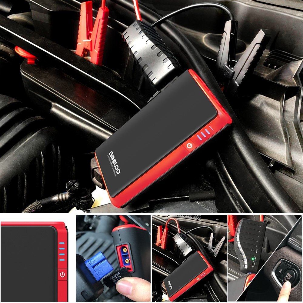 500A Peak SuperSafe Car Jump Starter Up to 4.5L Gas Power Pack 12V Auto Battery Booster Portable Phone Charger GOOLOO Quick Charge in /& Out Built-in LED Light Black//White