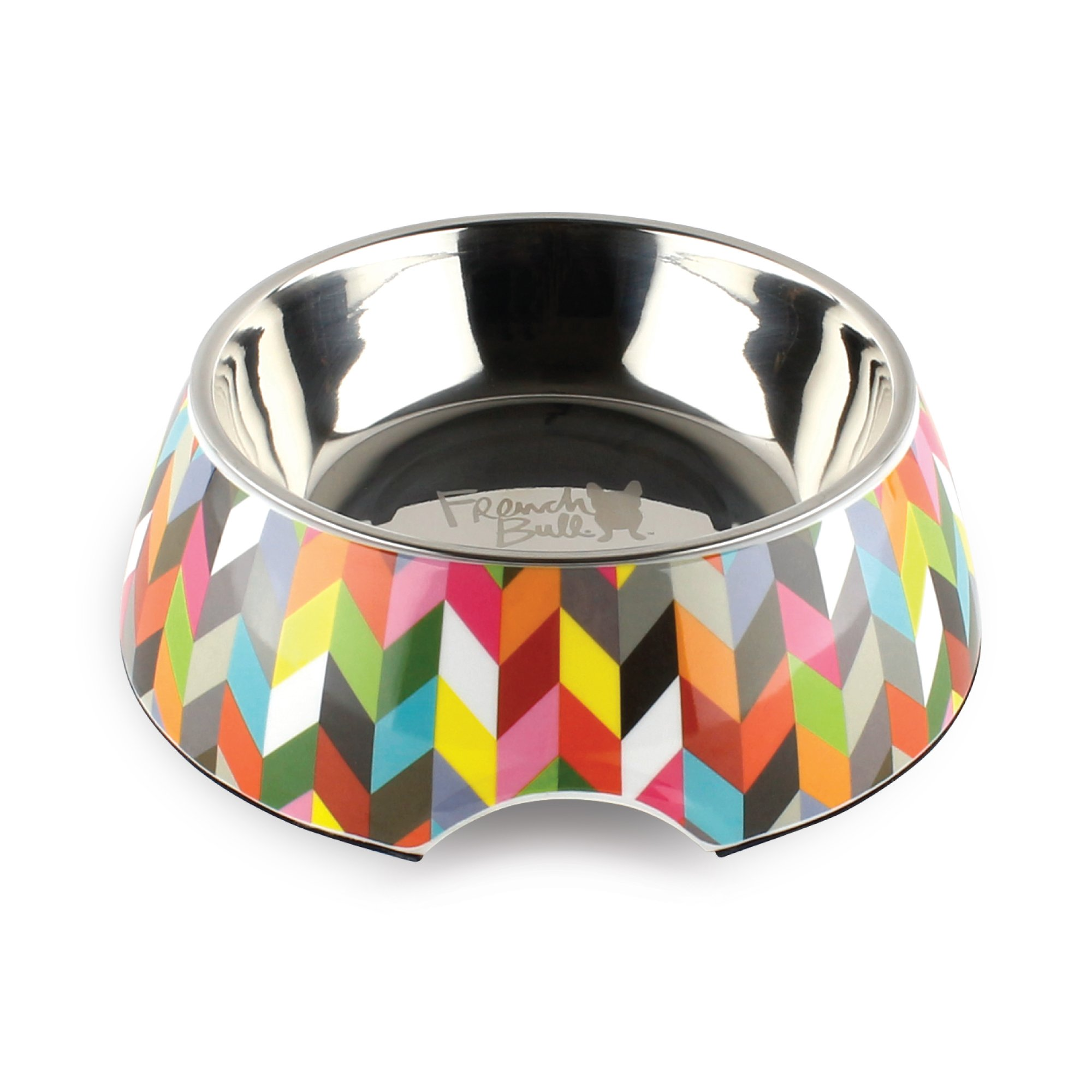 French Bull 12 oz. Pet Bowl, 2 Piece - Dog, Cat, Feeder, Nonslip, Stainless Steel, Raised - Ziggy