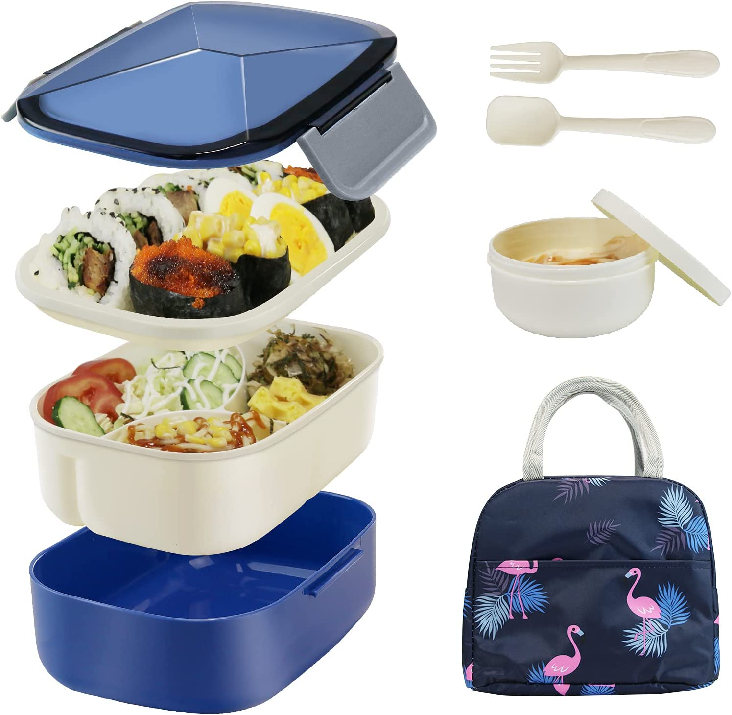 Bestjing Bento Lunch box for Adults, 54.1oz BPA Free Bento Box, 2 Tier &3 Compartment Design Food Containers for Lunch &Snacks, Built-in Utensil &Sauce Cup, Bundled with Insulated Lunch Bag(Dark Blue)