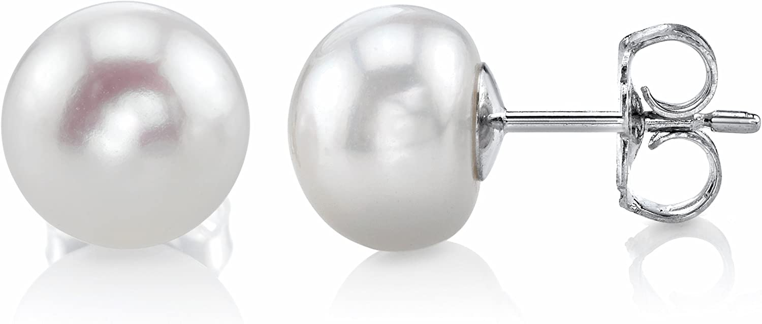 Freshwater Safety and trust Cultured Pearl Earrings Super intense SALE for Women White Button Studs