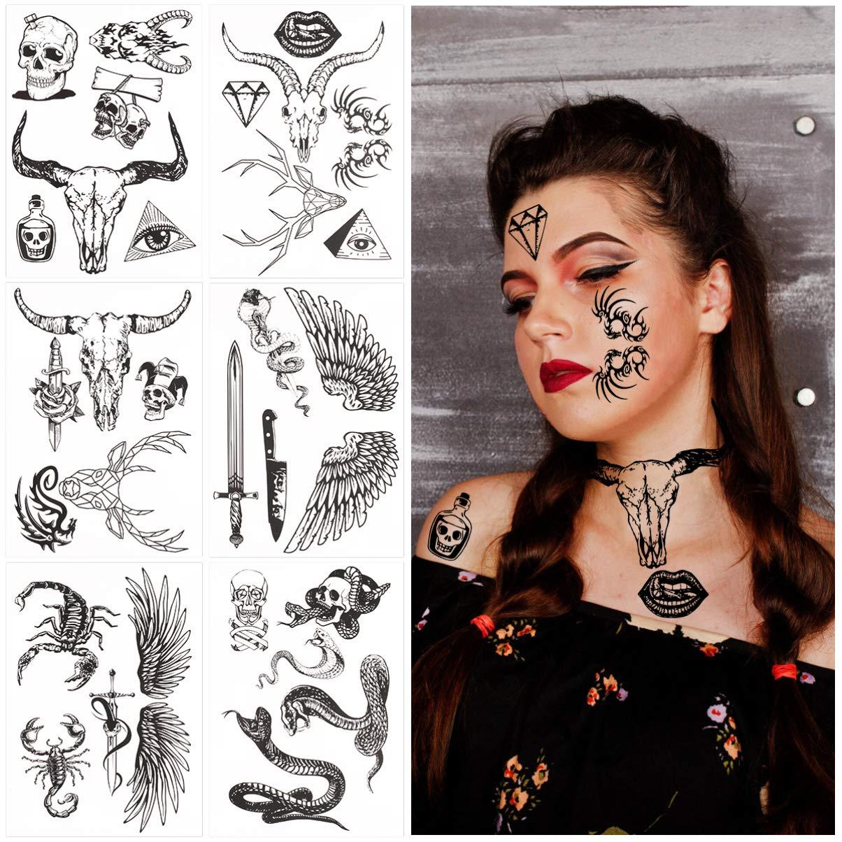 Halloween Face Tattoos Set Waterproof Temporary Tattoos Sticker for Halloween Costume Halloween Party Favor Supplies 6 Sheets