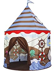 Homfu Play Tent for Kids Castle Playhouse for Children Boys Viking Pattern Popup Tent (Brown)