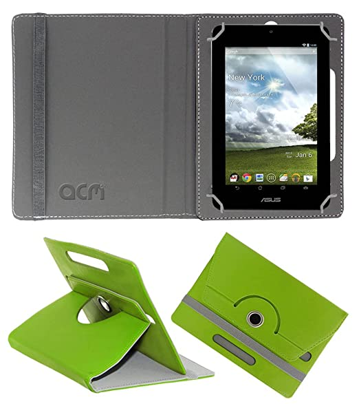 Acm Rotating 360 deg; Leather Flip Case for Asus Memopad Cover Stand Green Tablet Accessories