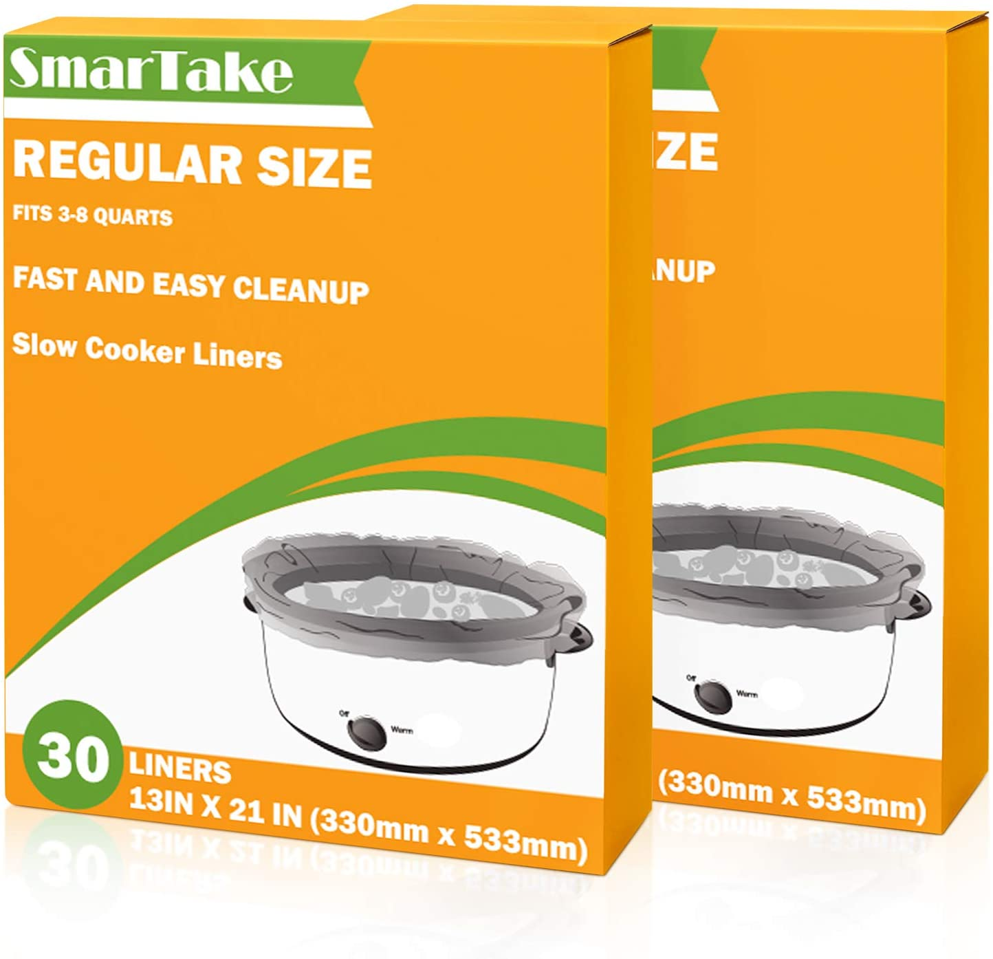 SMARTAKE Slow Cooker Liners, 13 × 21 Inches Disposable Cooking Bags, Easy Clean-Up Plastic Bags, Fit 3QT to 8QT, for Slow Cooker, Crockpot, Aluminum Cooking Trays, Pans, 2 Packs (60 Liners)