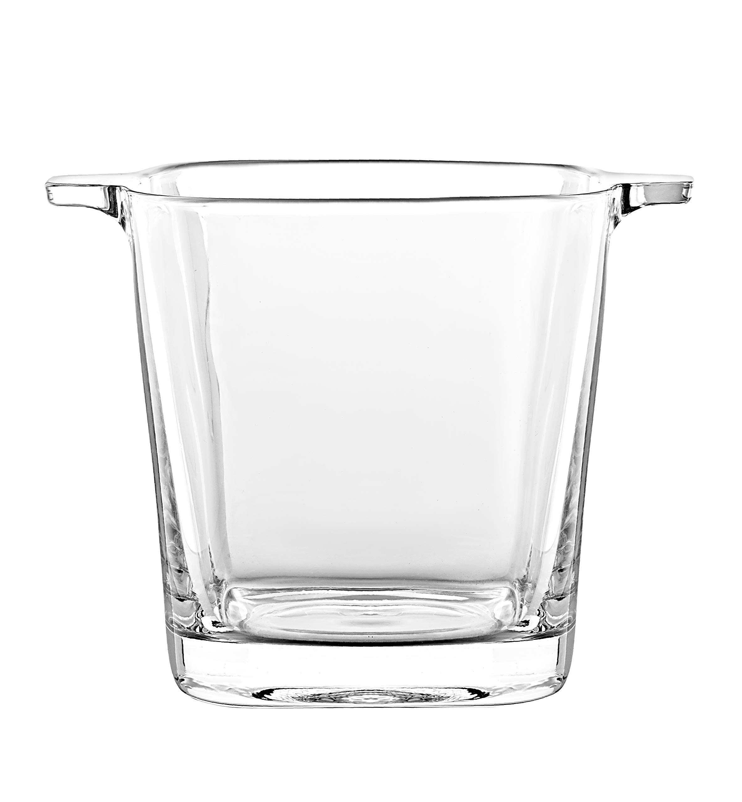 Glass - Ice Bucket - 5.7'' H - By Barski - European Quality Glass - Square Shaped - with Two Handles - Made in Europe by Barski (Image #1)
