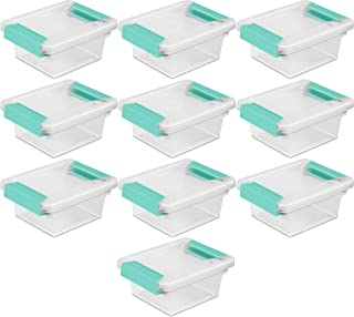 product image for STERILITE 19698606 Mini Clip Box, Clear with Blue Aquarium Latches, 10-Pack
