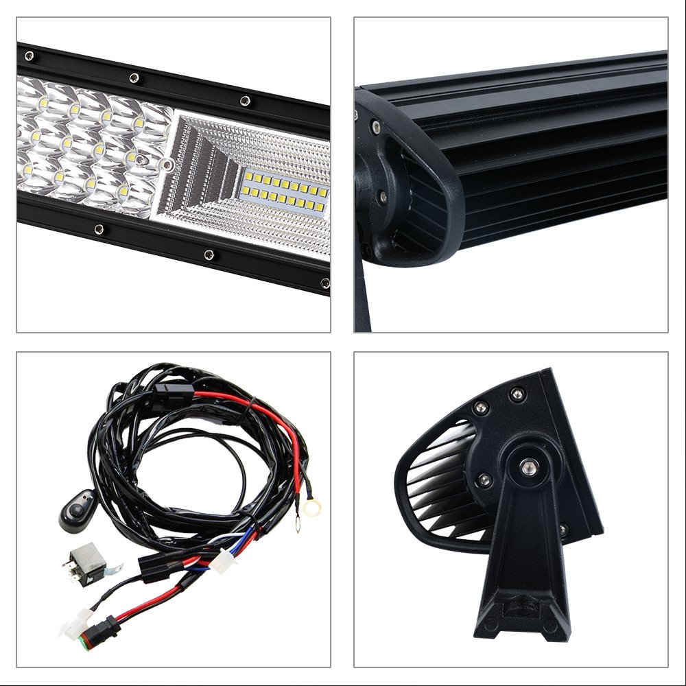 AAIWA 22 Inch Off Road Lights 12000LM Flood Spot Combo LED Work Light Bar with 6D Lens LED Light Bar Driving Work Lamp for Truck Jeep Boat Lights