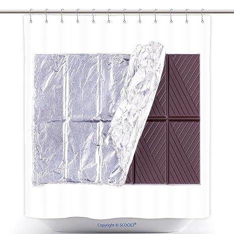 Tenda Doccia Durevole Scuro Tinta Unita Cioccolato Bar Isolato Su