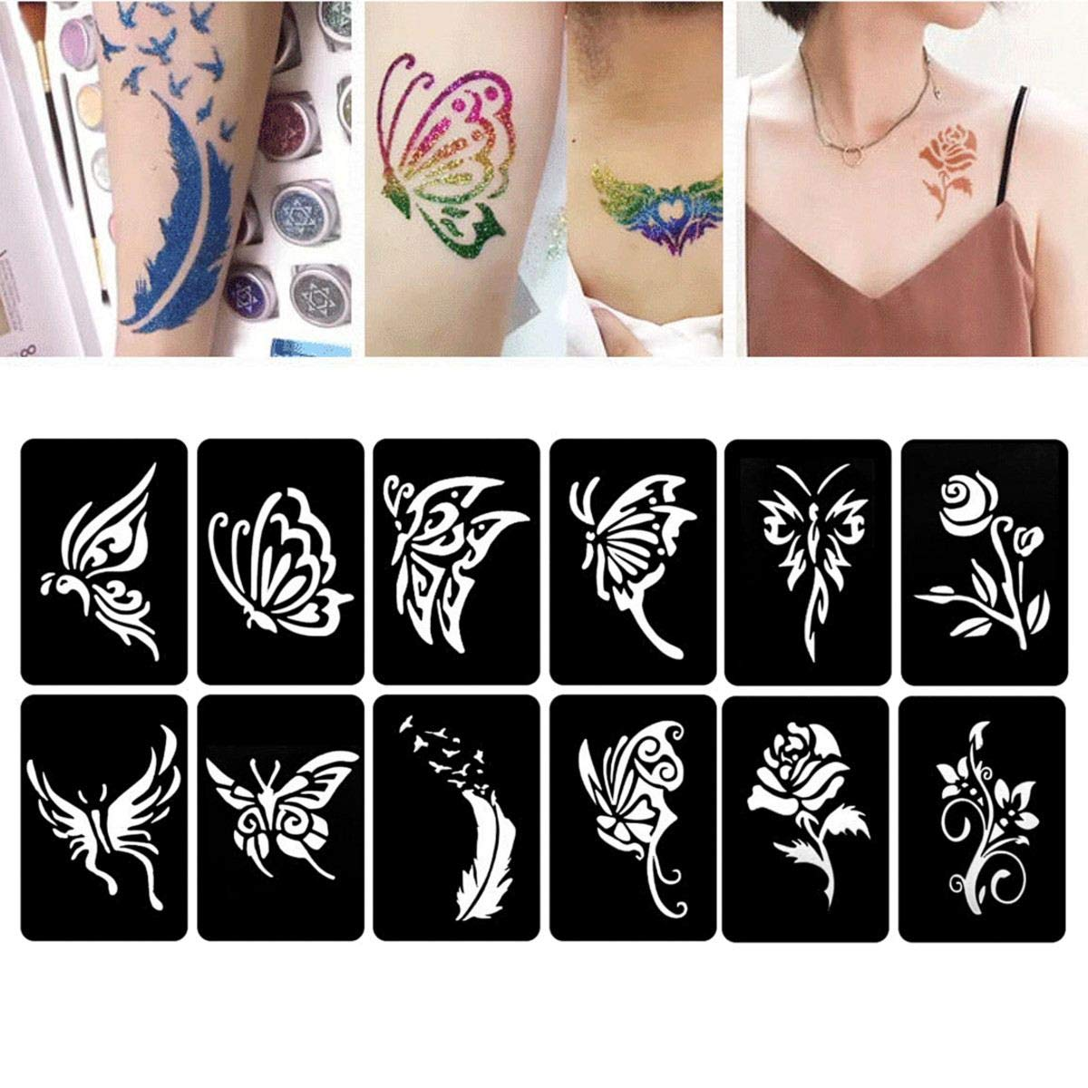 Henna Stencils 118 Patterns Henna Tattoo Stencils Temporary Glitter Airbrush Painting Insect Flower Letter Sexy Women Body Art Tattoo Templates