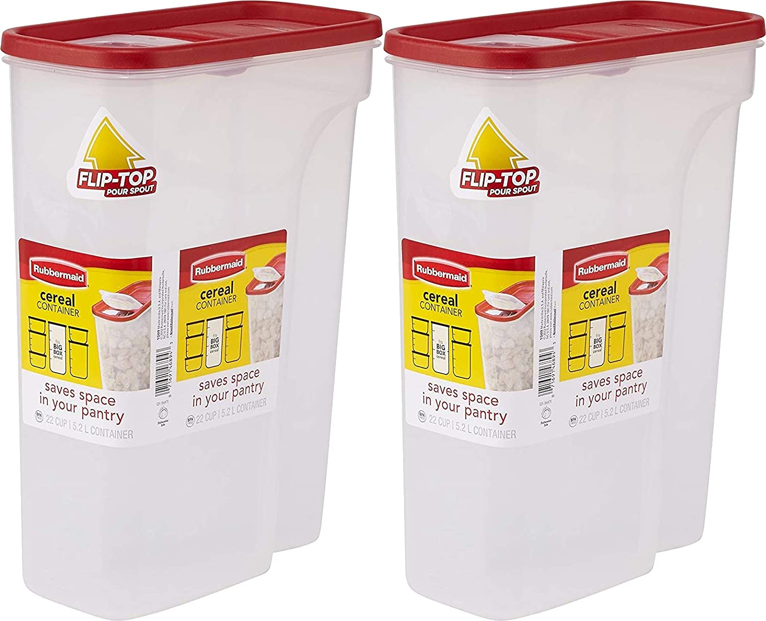 Rubbermaid Flip Top Cereal Keeper, Modular Food Storage Container, BPA-free, 22 Cup, 2 Pack