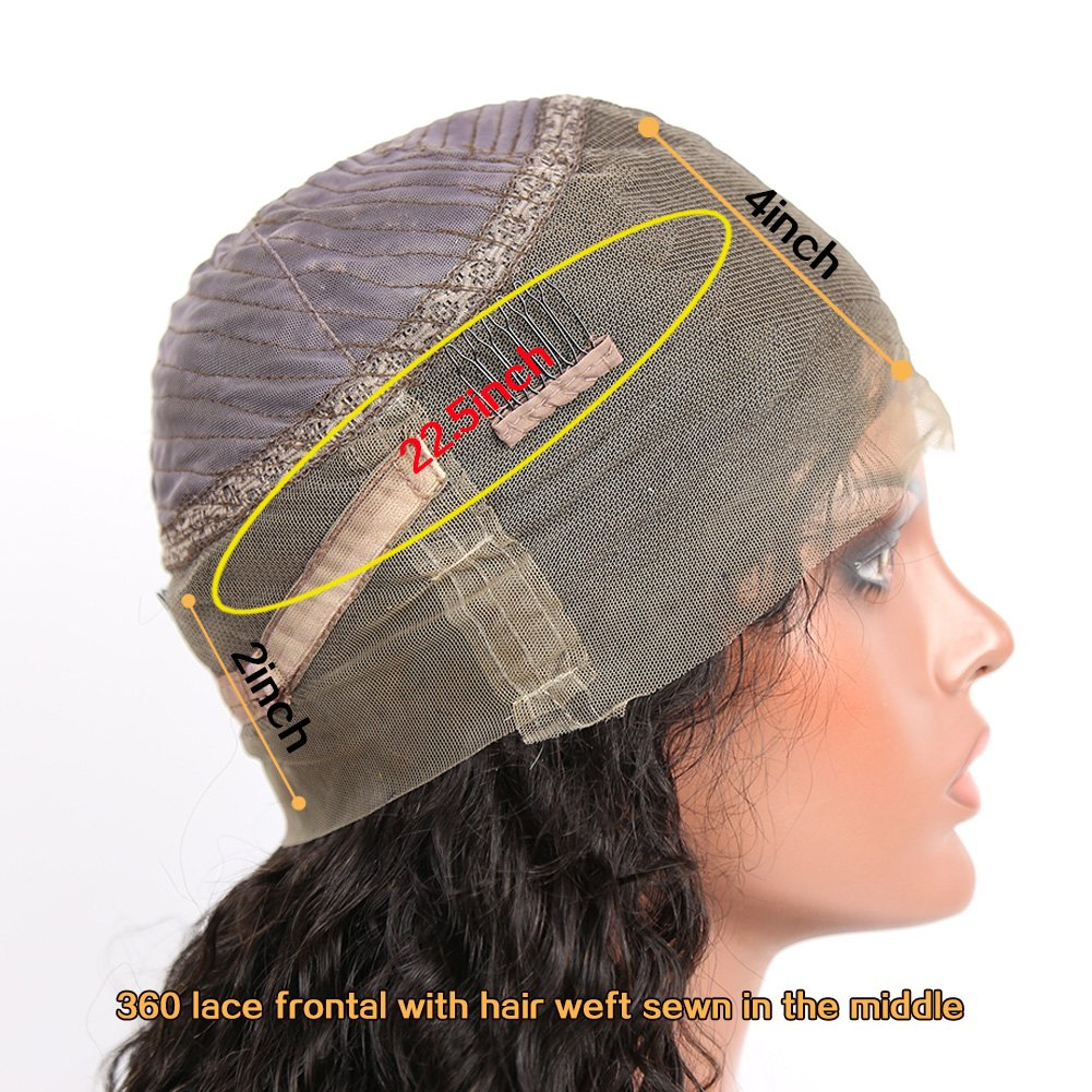 Eayon Hair Pre-Plucked 360 Lace Frontal Wigs with Baby Hair for Black Women Natrual Hairline Curly Brazilian Virgin Human Hair Lace Wigs 150% Density Natural Color 12inch