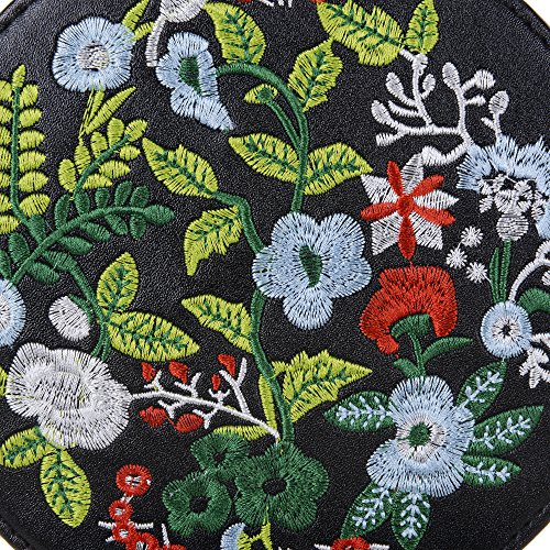 Handle Shoulder Embroidered Black Tote Crossbody Top Women's Bag Handbag Ethnic Bag Round Style XwpSq8