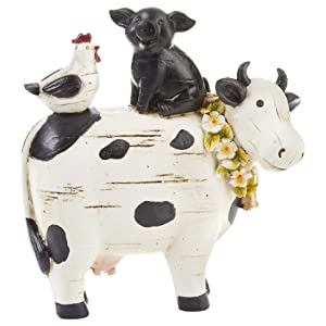 Summer DN Cow with Chicken and Pig Black and White 7 x 7 Resin Stone Collectible Figurine