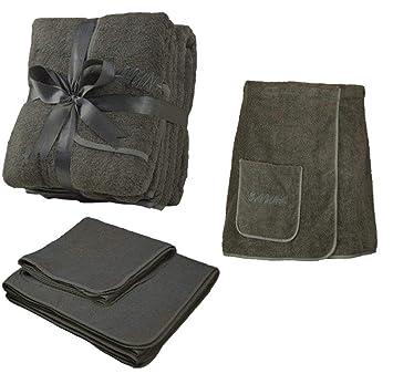 Juego de 3 toallas de rizo para sauna, toalla para la cintura, toalla de