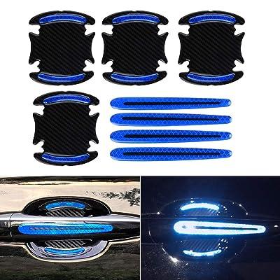 Car Door Cup Handle Paint Scratch Protector Sticker 3D Carbon Fiber Universal Auto Door Handle Scratch Protection Cover Guard Film Car Door Handle Safety Reflective Strips (Blue, 8Pcs): Automotive