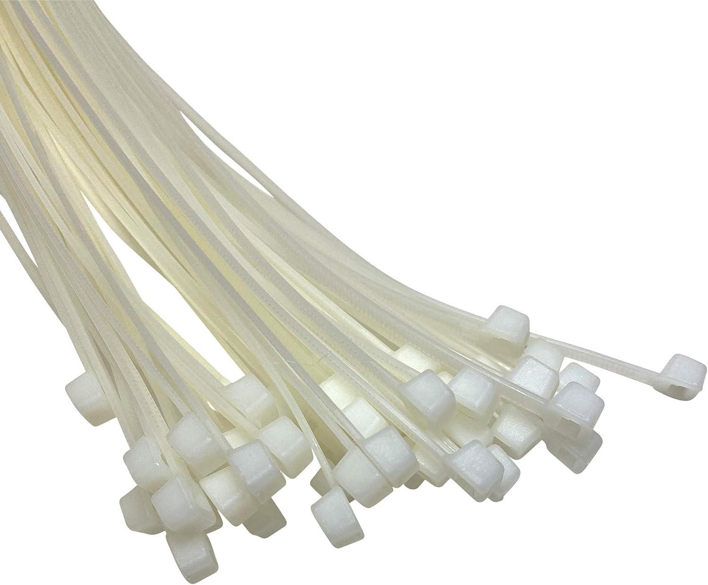 Argent 4,8mm x 450mm Lot de 50 Nylon Plastique Colliers De Serrage Long et Large Xl Fermeture /éclaire Ties noir et blanc enroulant
