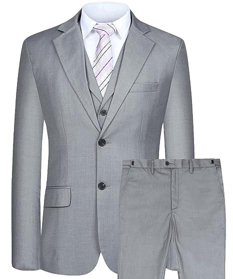 3abf3d1e908 Men s Suit 3 Piece Busines Classic Solid Regular Fit Blazer Coat Vest Pants  Set(Deep Gray