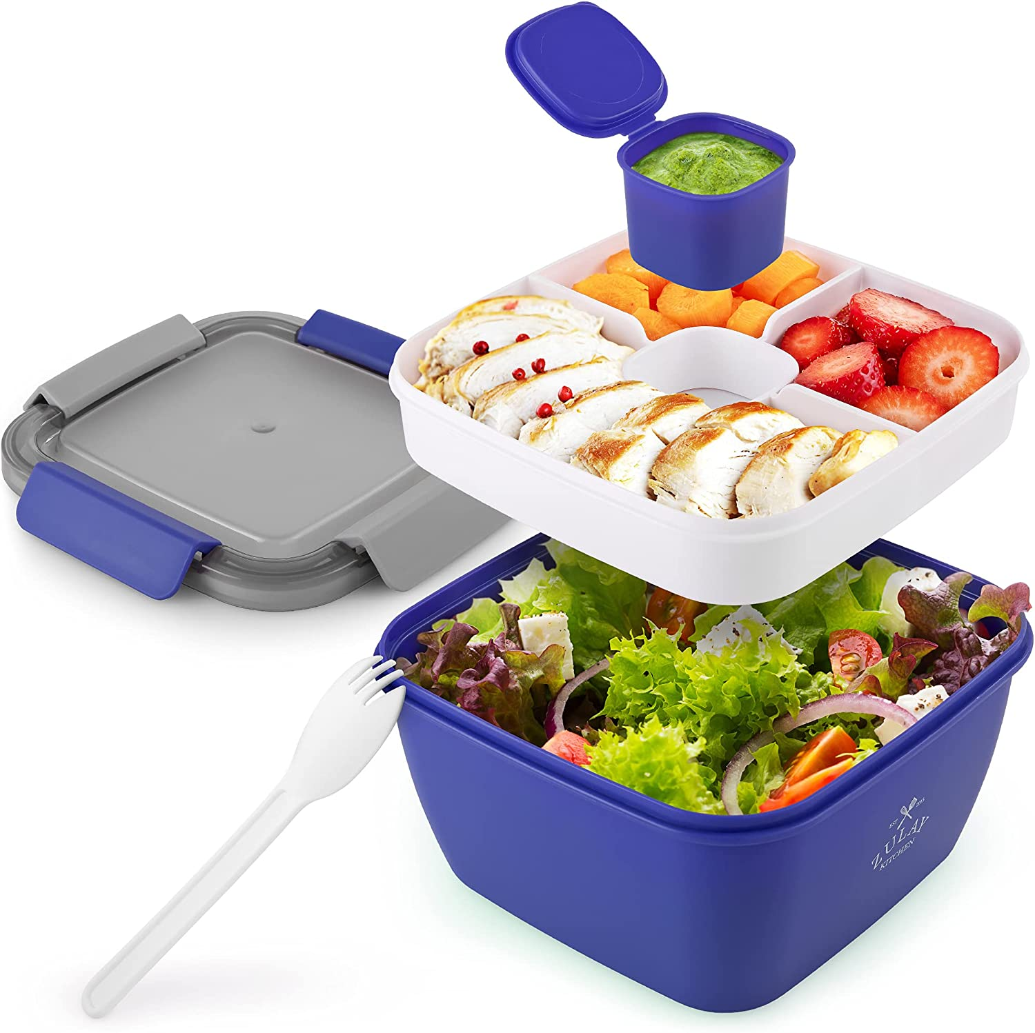 Zulay 52oz Salad Container For Lunch - BPA Free Leak Proof Salad Dressing Container To Go With Smart Lock Design - Salad Lunch Container With Dressing Container & Reusable Spork (Dark Blue)