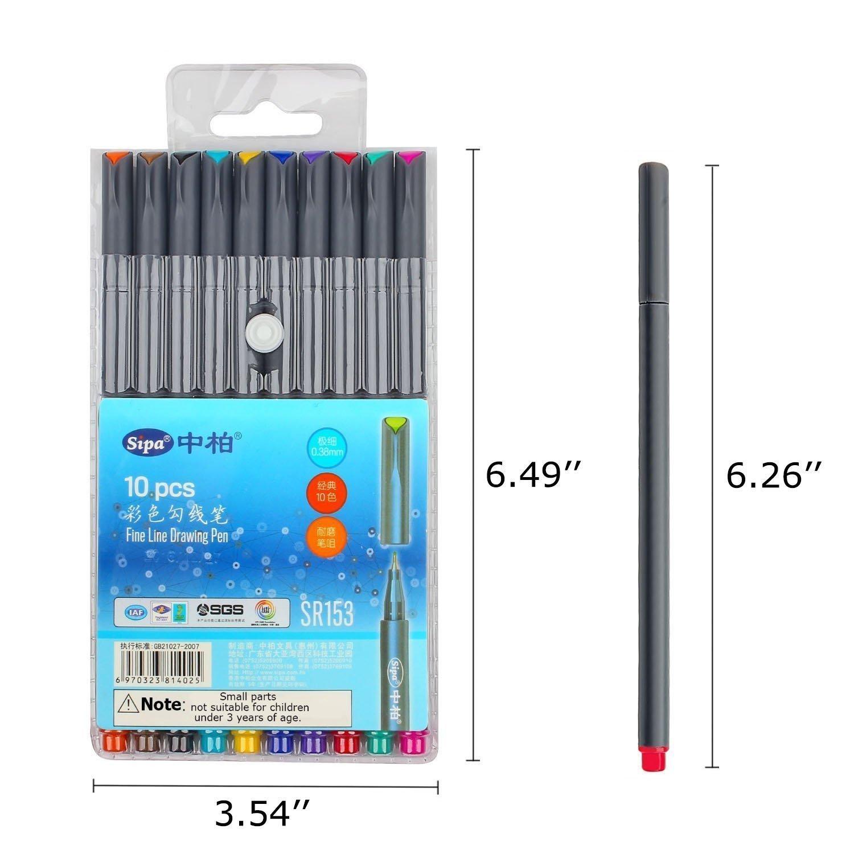 Fineliner Farbe Stifte Set, Morkia 10 Fine Liner Zeichnung Stift, 0.38mm Farben Fine Point Spitze Buntstifte für Bullet Journal, Kalender, Planer, Notizen und Malbuch