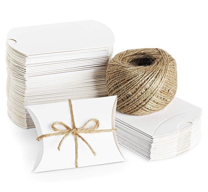 20 opinioni per Absofine 100pcs Pillow scatole regalo bianco con 60m di iuta Candy box