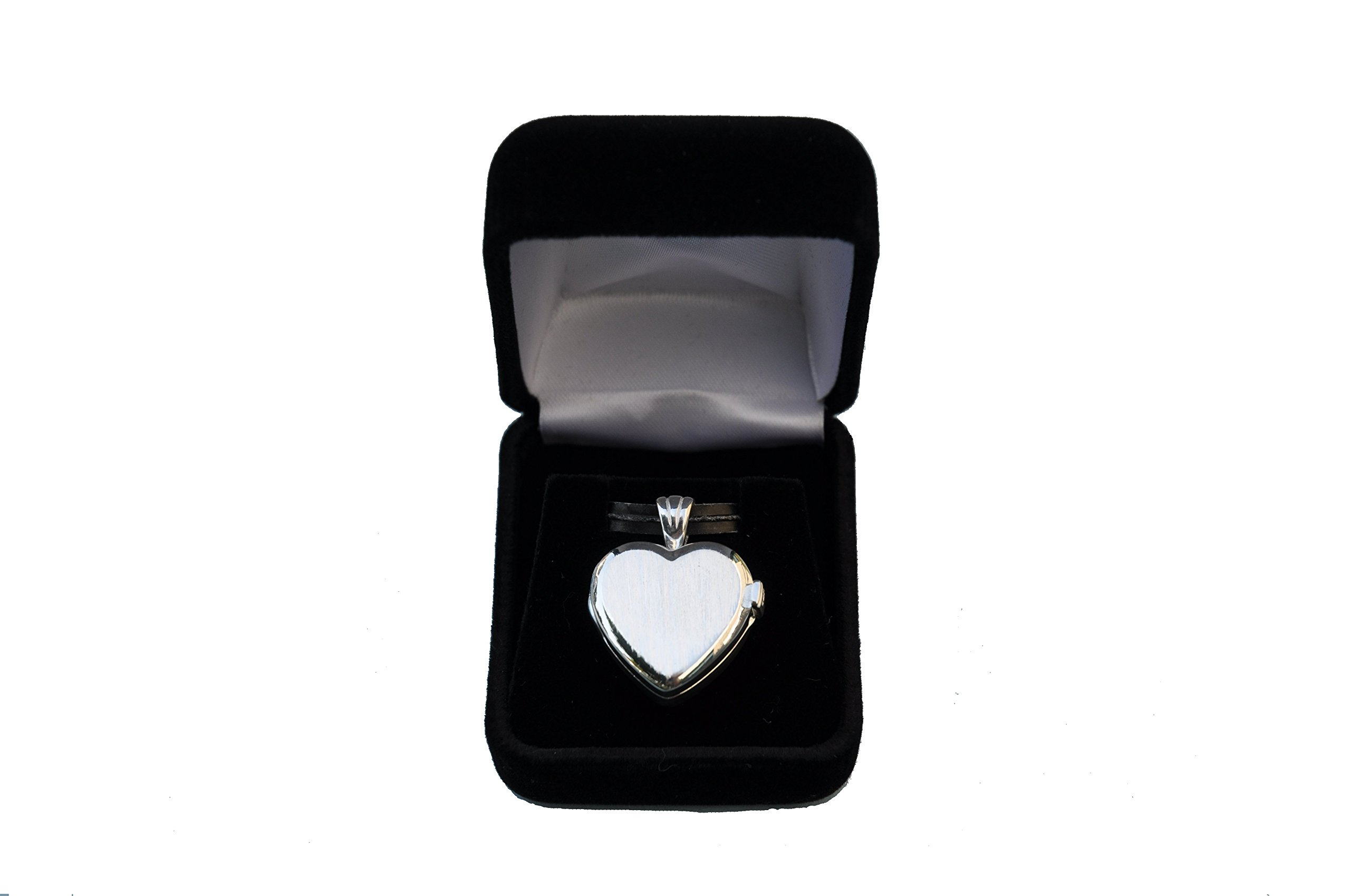 Engraved Elegant Heart Design Sterling Silver Compass Locket with 19.5 inch Silver Chain