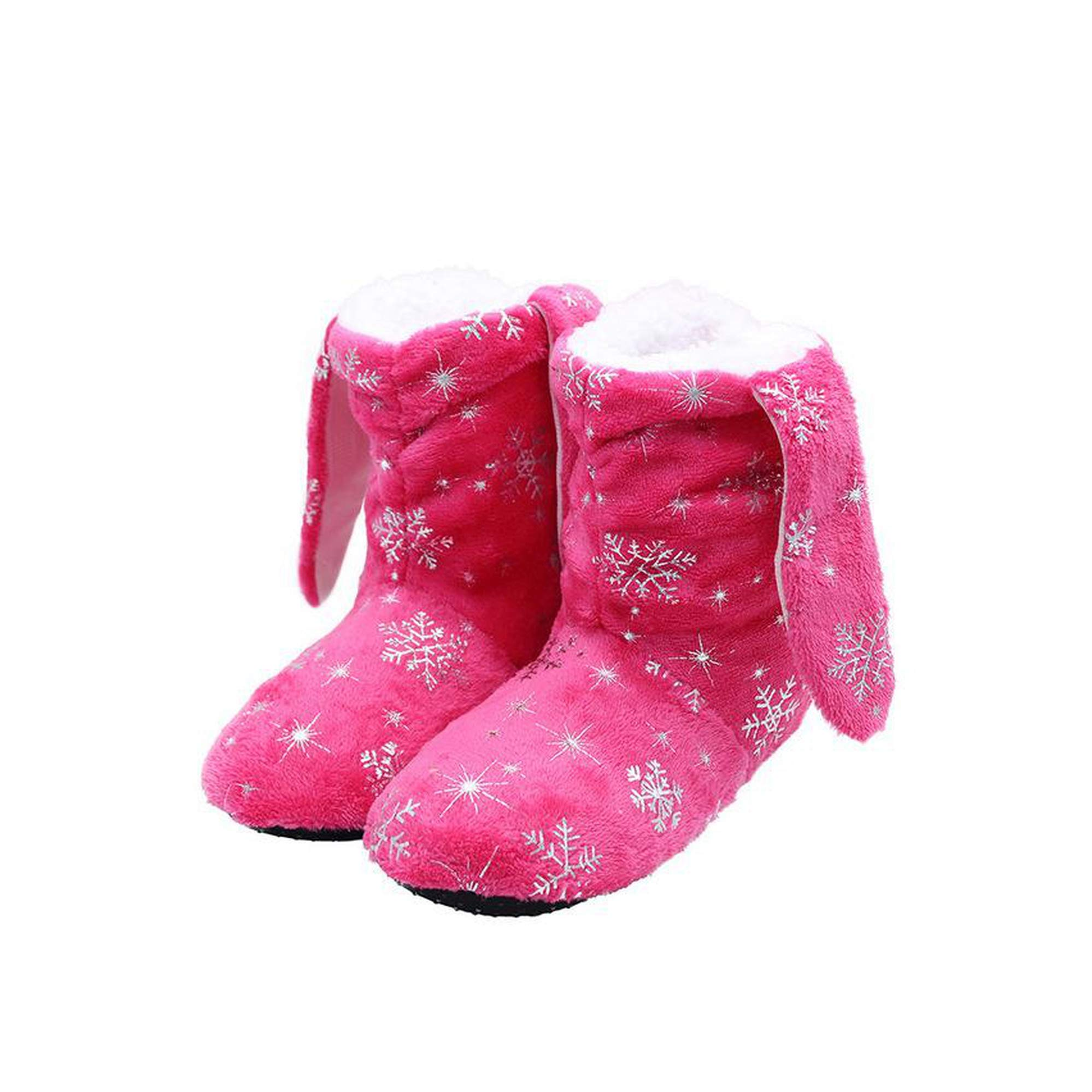 Indoor Shoes Plush Warm Winter Cotton Slippers Fur Slippers Shoes Soft Floor Shoes And Socks Women Men Snow Shoes,pink,6 by Harrypopo slipper-socks