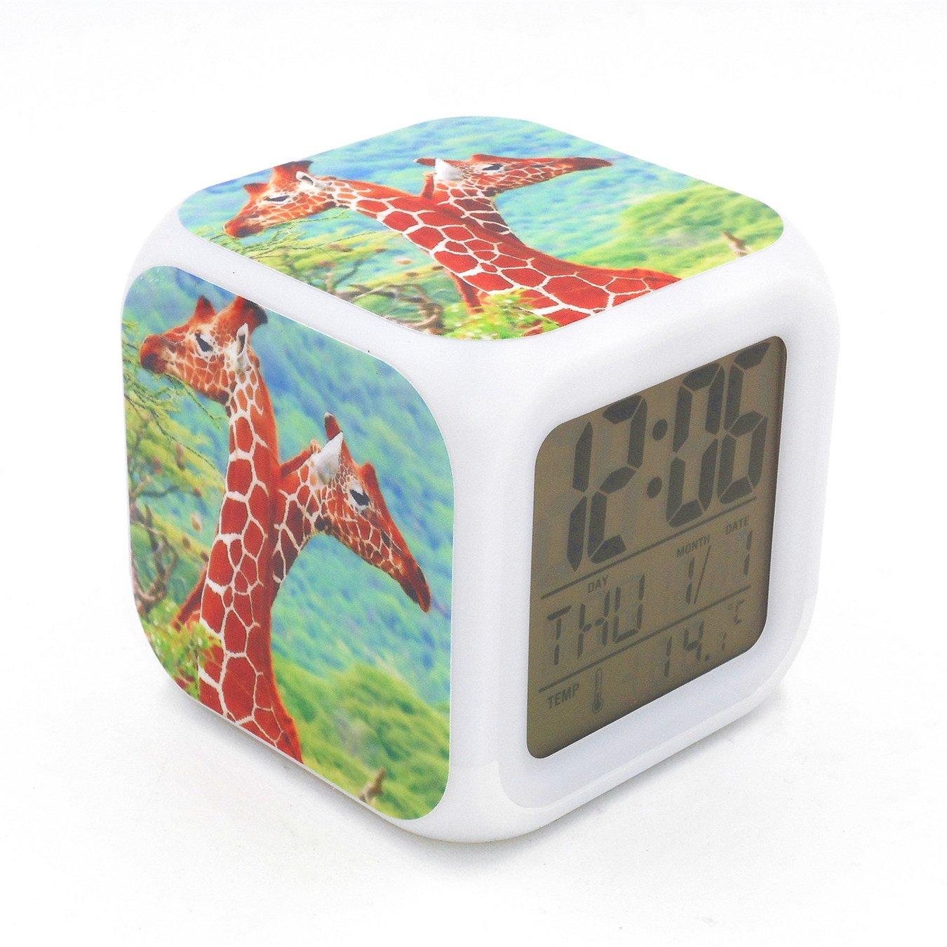 Boyan Led Alarm Clock Giraffe Animal Design Green Creative Desk Table Clock Glowing Led Digital Alarm Clock for Unisex Adults Kids Toy Gift
