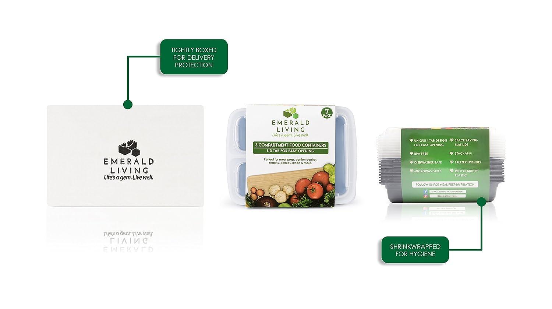 congelatore e lavastoviglie adatti ad uso in microonde 3 contenitori privi di bisfenolo A per pasti preparati Contenitori di plastica riutilizzabili per alimenti 1L//–/&n Set di contenitori alimentari Bento eBook Accatastabili con coperchi