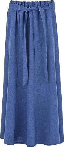 Para mujer poliéster Falda 8paneles Flare Maxi falda cintura elástica cinturón 35cm