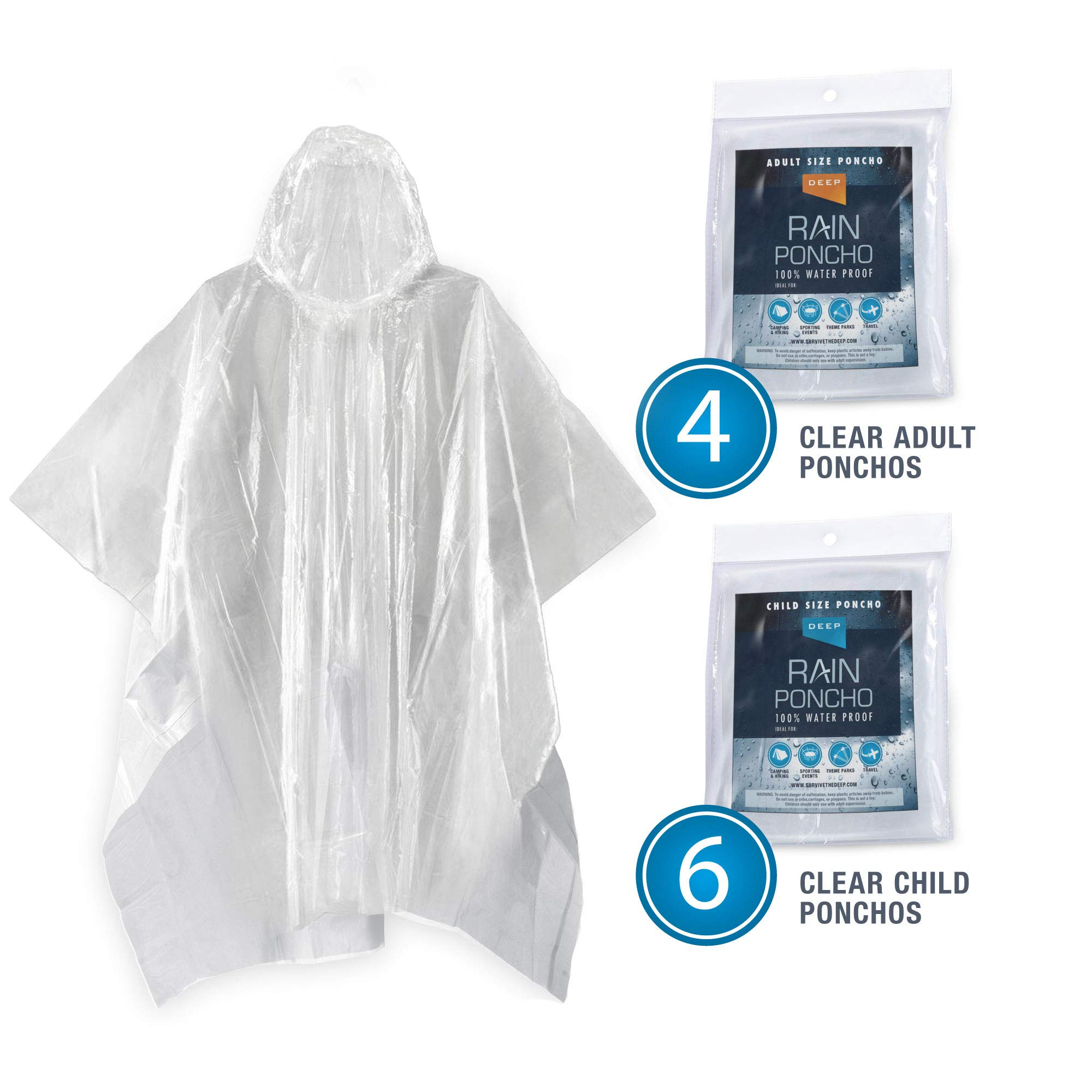 Deep Disposable Rain Poncho Family 10 Pack (Adults/Kids) | Waterproof Lightweight Portable Ponchos with Hood | Thick Plastic (2X Stronger Than Normal) Makes Them Reusable | Clear Color