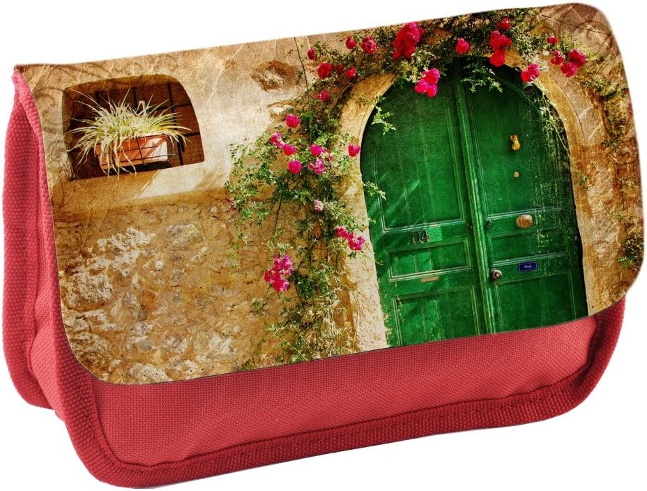 Vintage 030, puerta, Rojo Escuela Niños Sublimación Alta calidad Poliéster Estuche de lápices con Diseño Colorido. 21x13 cm.: Amazon.es: Oficina y papelería