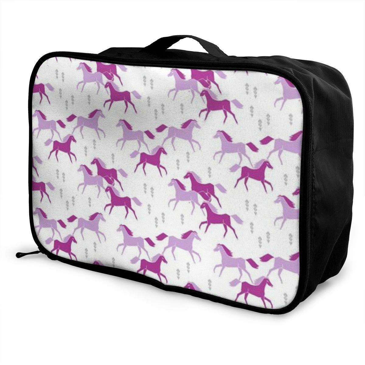 ADGAI Wild Horses Purple Lavender Canvas Travel Weekender Bag,Fashion Custom Lightweight Large Capacity Portable Luggage Bag,Suitcase Trolley Bag