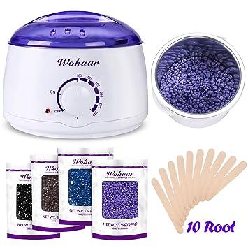 Amazon wokaar wax warmer hair removal waxing kit with 4 hard wokaar wax warmer hair removal waxing kit with 4 hard wax beans and 10 wax applicator solutioingenieria Choice Image