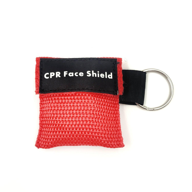CPR Máscara Anillo de llavero Kit de primeros auxilios Rescate Escudos de cara con barrera de respiración de válvula unidireccional para entrenamiento ...