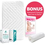BabyMaryCo Pack N Play Waterproof Crib Mattress Pad Cover FITS ALL Mini&Foldable Mattresses Portable Cribs Dryer Safe & Hypoallergenic Soft Comfy Fitted Crib Protector-Bonus Changing Pad Liner&E-book